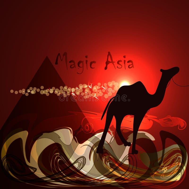 Fondo rojo abstracto Desierto, pirámide, camello, noche roja Asia mágica stock de ilustración