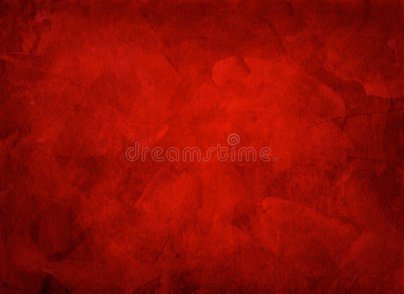 Fondo rojo acodado multi pintado a mano artístico stock de ilustración