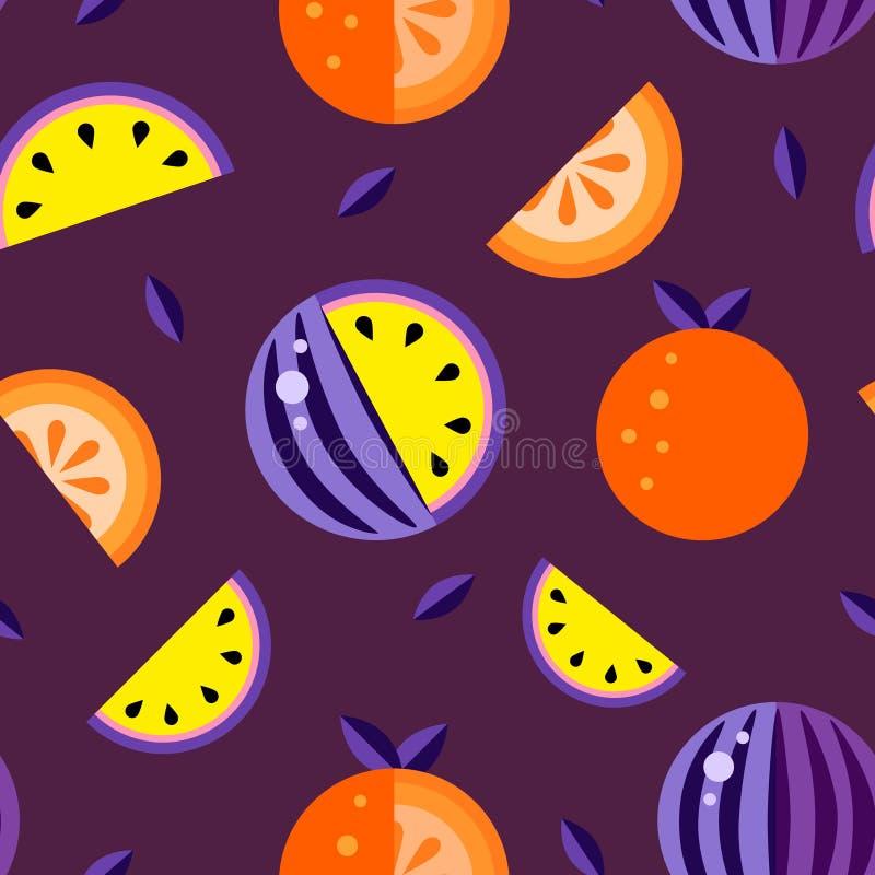 Fondo rojo amarillo-naranja de la violeta de las sandías Vector inconsútil del papel pintado del sistema del melón del modelo Bue stock de ilustración