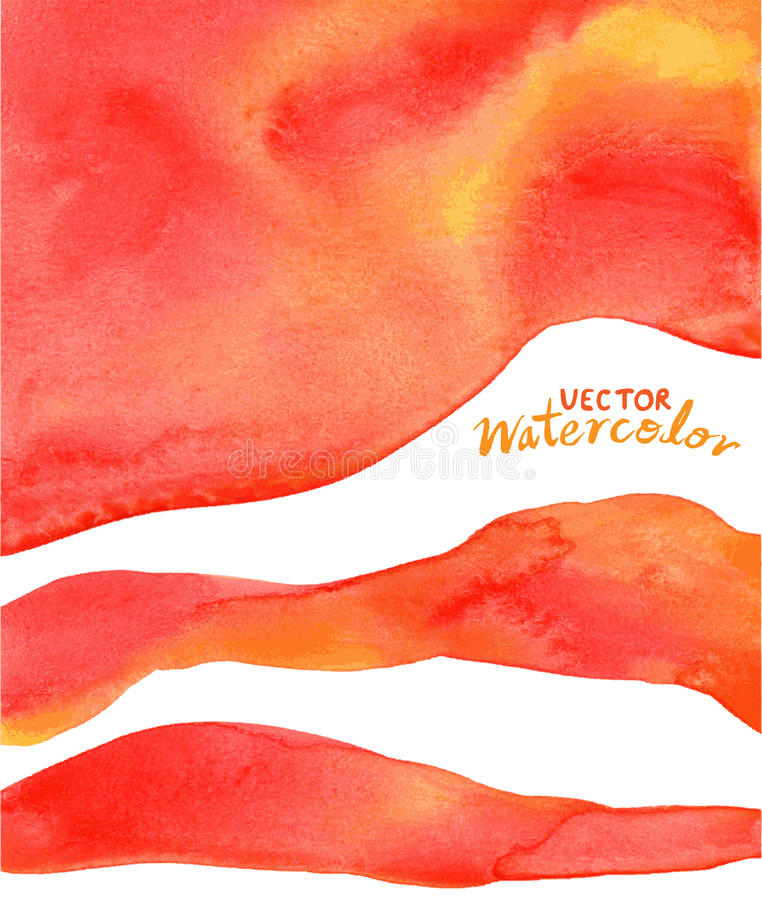Fondo rojo, anaranjado, amarillo de la acuarela stock de ilustración