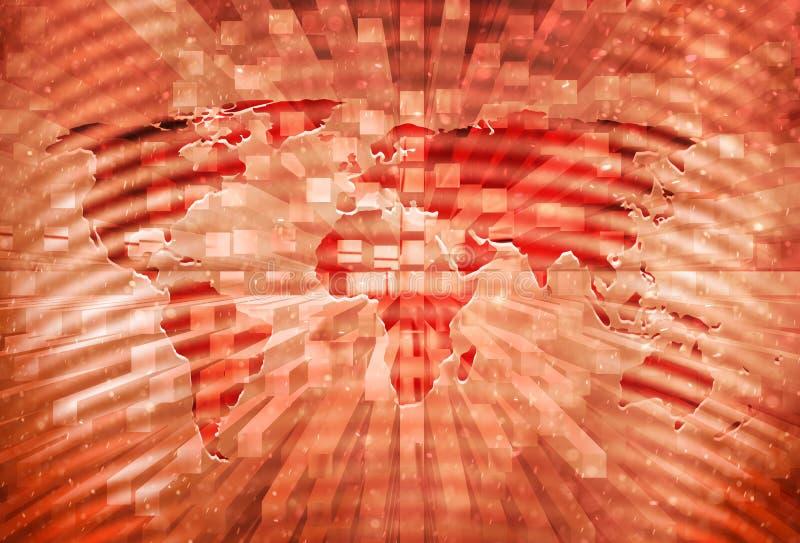 Fondo rojo artístico de la apocalipsis del mapa del mundo imagenes de archivo