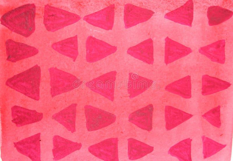 Fondo rojo brillante de la acuarela con los triángulos rojo oscuro imagen de archivo libre de regalías