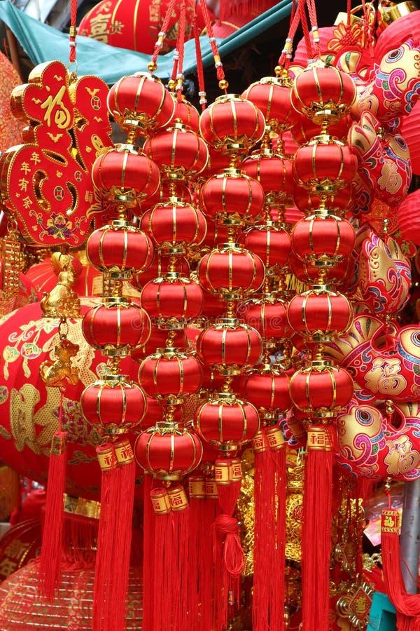Fondo rojo chino de la linterna en el Año Nuevo chino, Yaowarat Tailandia foto de archivo libre de regalías
