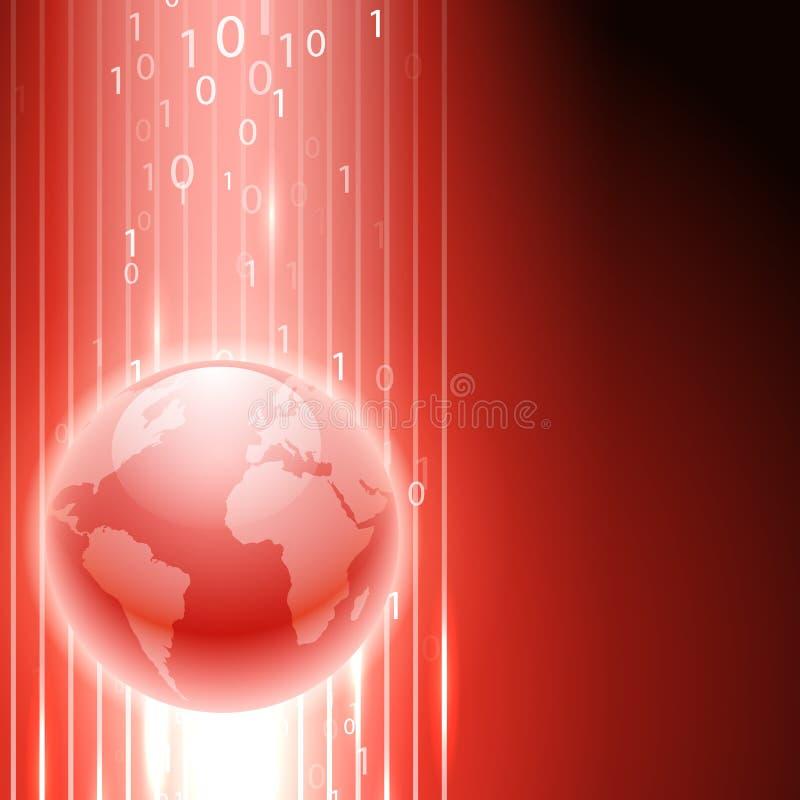 Fondo rojo con código binario al globo ilustración del vector