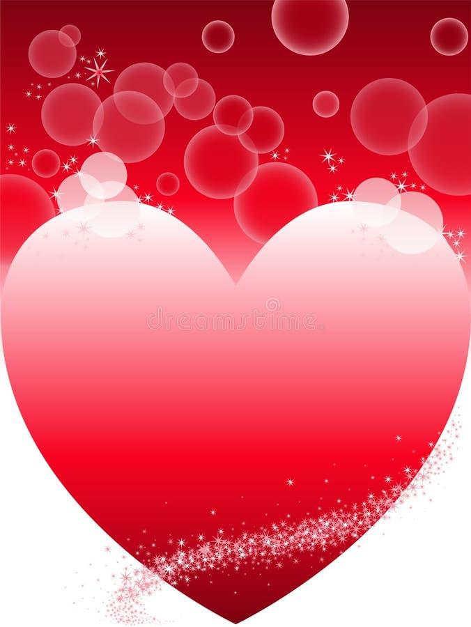 Fondo rojo con el corazón stock de ilustración