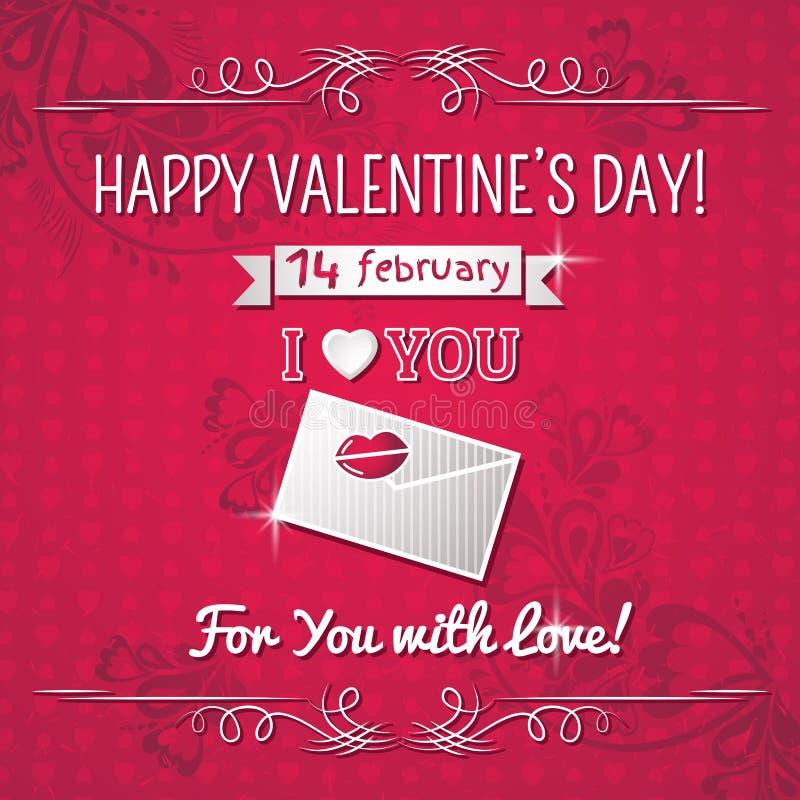 Fondo rojo con el corazón de la tarjeta del día de San Valentín y el tex de los deseos libre illustration