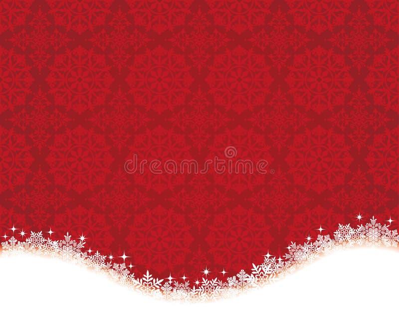 Fondo rojo con el cristal y el tapetito de la nieve stock de ilustración