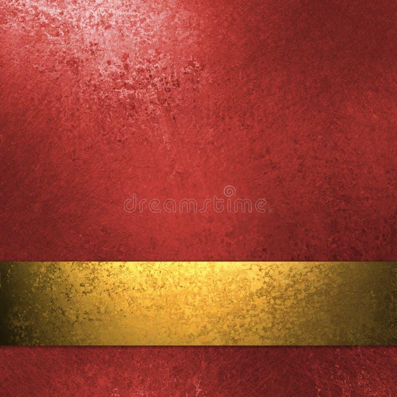 Fondo rojo con la cinta del oro imágenes de archivo libres de regalías