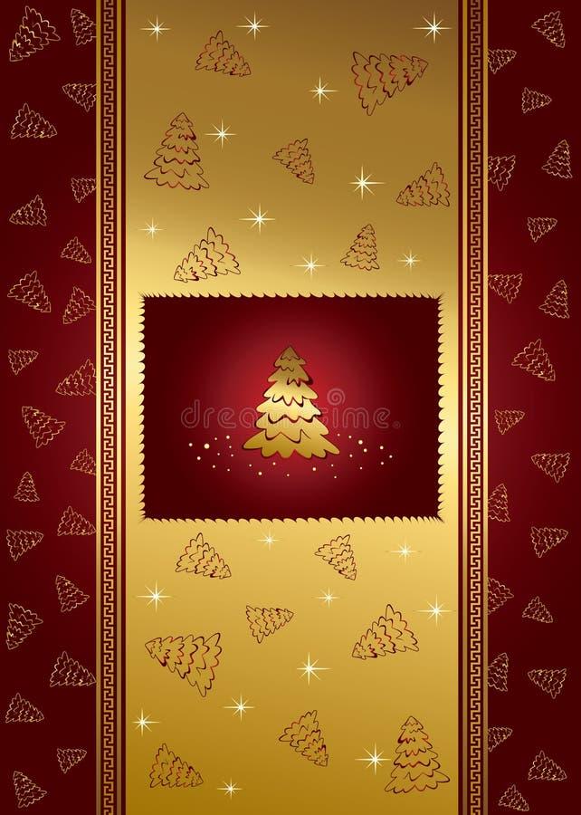 Fondo rojo con las estrellas y el árbol de navidad ilustración del vector