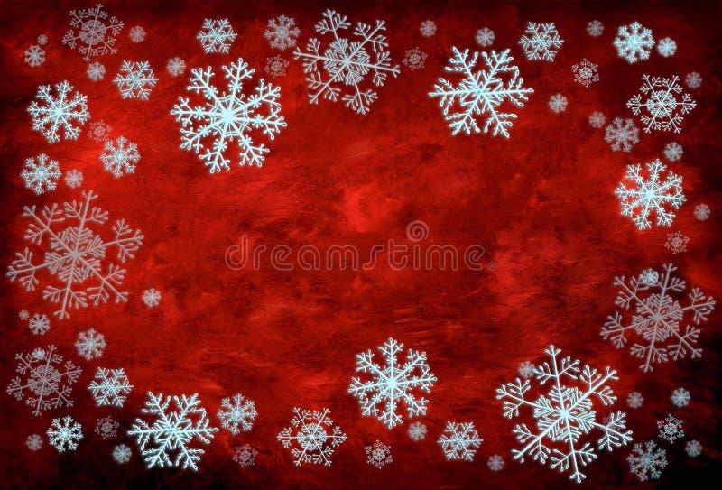 Fondo rojo con los copos de nieve fotografía de archivo