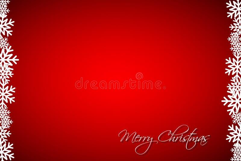 Fondo rojo con los copos de nieve, tarjeta simple del día de fiesta, ejemplo moderno de la Navidad del vector stock de ilustración