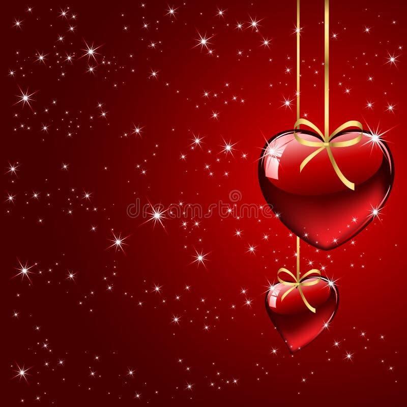 Fondo rojo con los corazones ilustración del vector