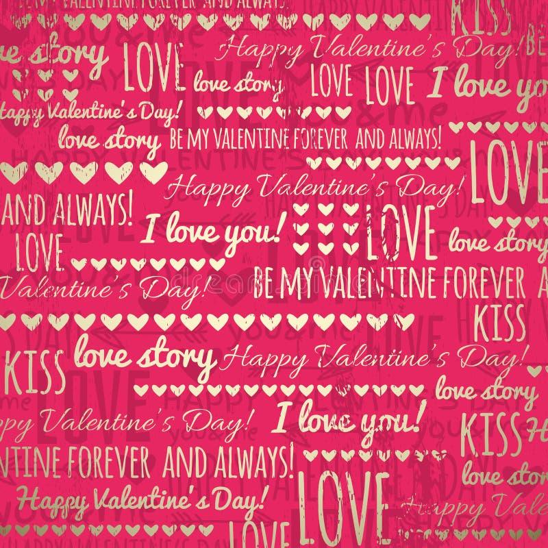 Fondo rojo con los corazones de la tarjeta del día de San Valentín y los wi de oro stock de ilustración