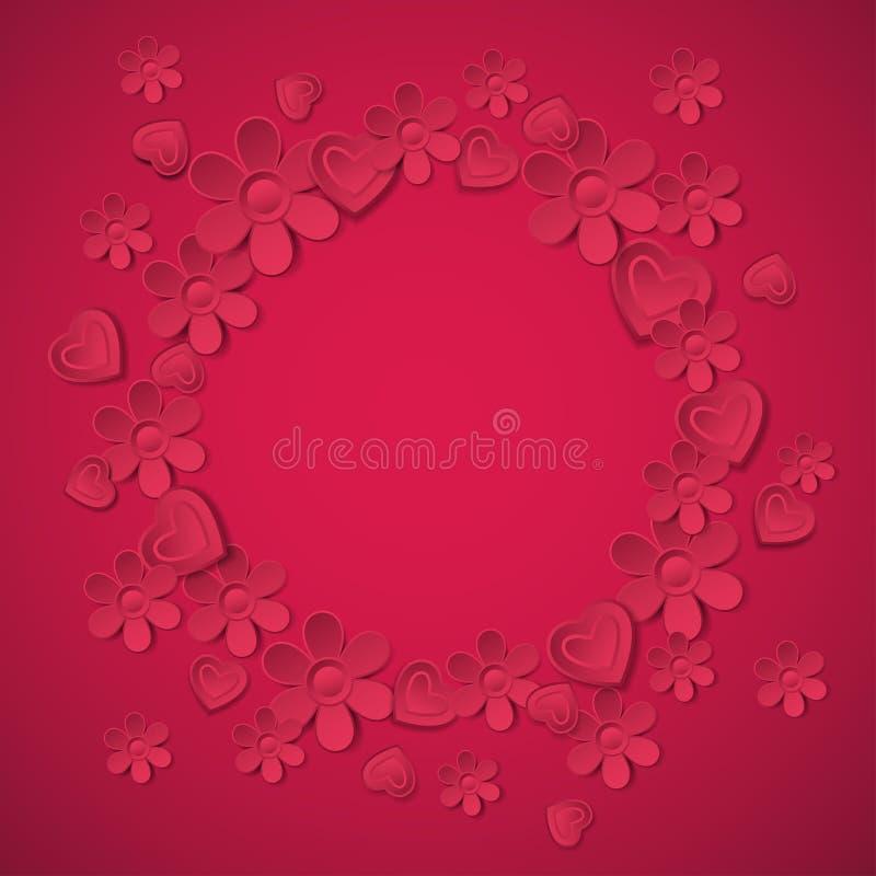 Fondo rojo con muchas flores, vecto de la tarjeta del día de San Valentín libre illustration