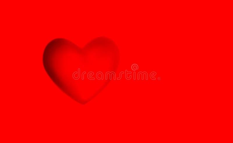 Fondo rojo, corazón de la impresión con la sombra Plantilla del concepto para la tarjeta de felicitación del día de tarjeta del d stock de ilustración
