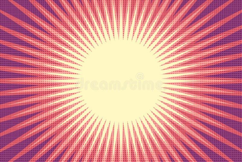 Fondo rojo de arte pop del sol libre illustration