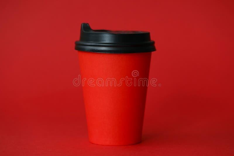 Fondo rojo de la comida del extracto de la taza de café fotografía de archivo