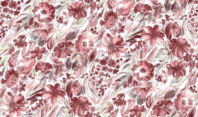 Fondo rojo de la flor hermosa inconsútil de la acuarela stock de ilustración