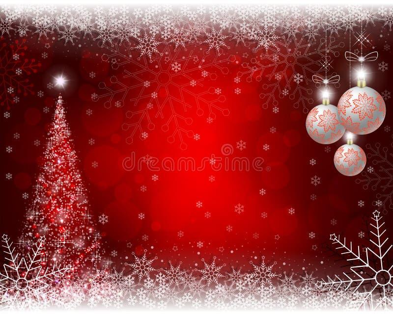Fondo rojo de la Navidad con el árbol de navidad, las bolas y los copos de nieve imagen de archivo