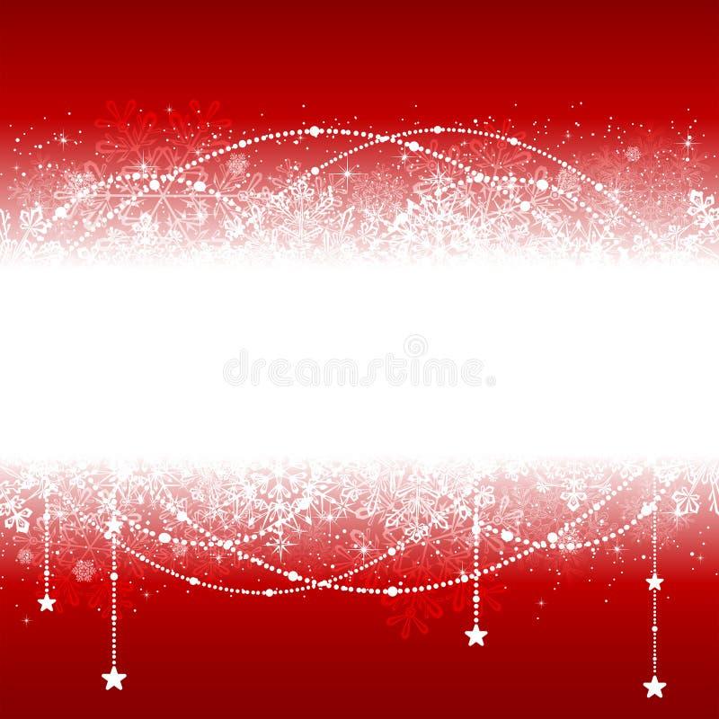 Fondo rojo de la Navidad con los copos de nieve ilustración del vector