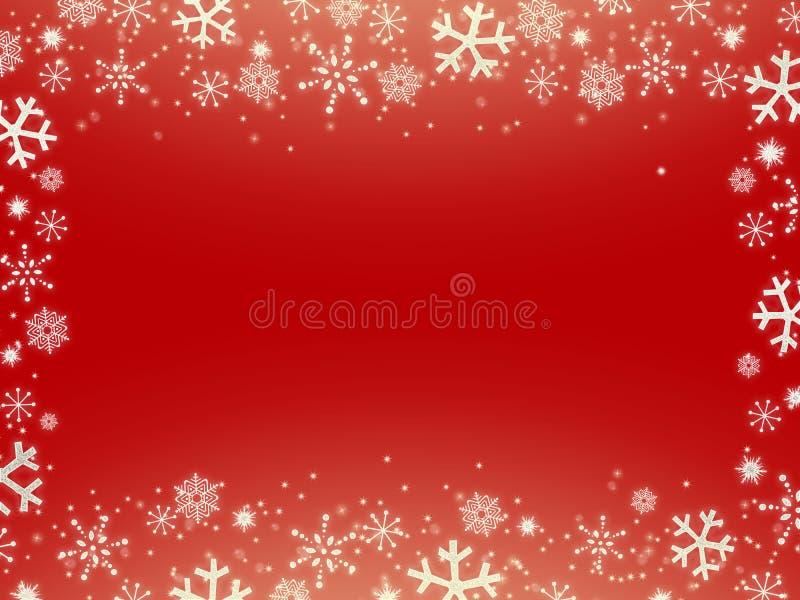 Fondo rojo de la Navidad con los copos de nieve libre illustration