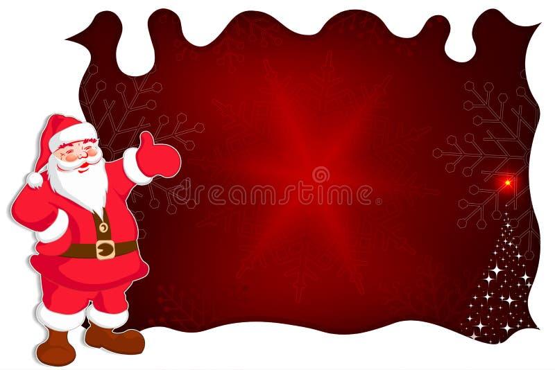 Fondo rojo de la Navidad con Santa Claus, un pequeño árbol de navidad, un marco blanco libre illustration