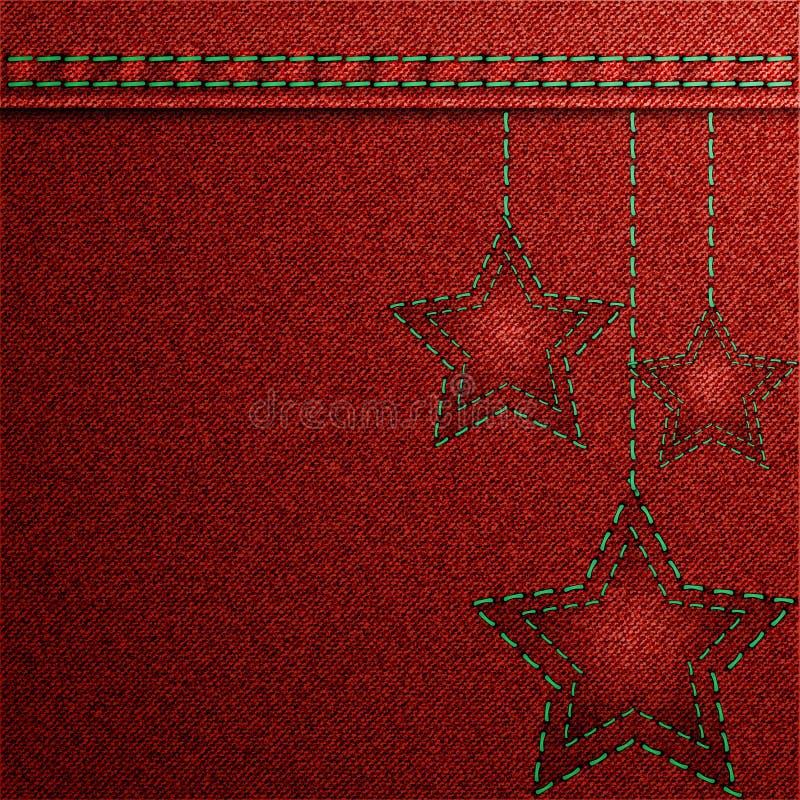Fondo rojo de la Navidad del dril de algodón con bordado. libre illustration