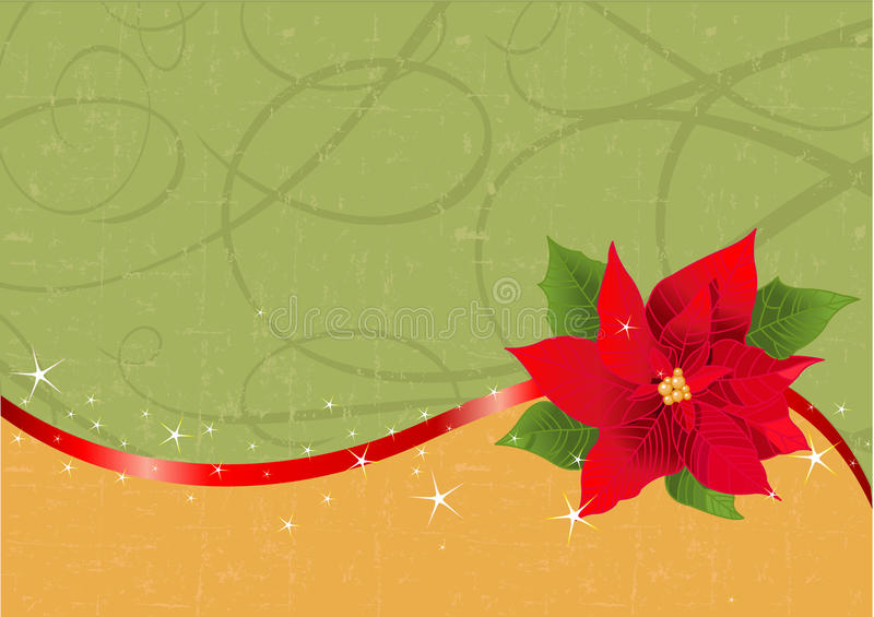 Fondo rojo de la Navidad del poinsettia libre illustration