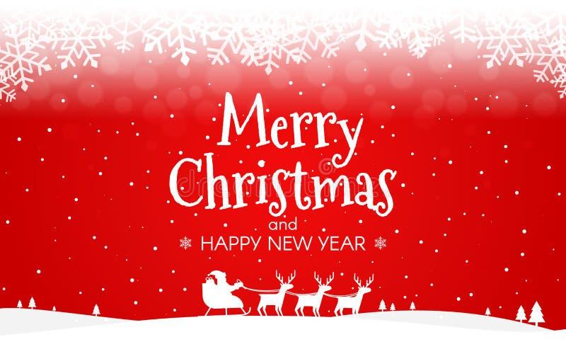 Fondo rojo de la Navidad Silueta de Papá Noel y de ciervos Paisaje rojo Nevado con los copos de nieve y los árboles Feliz Año Nue stock de ilustración