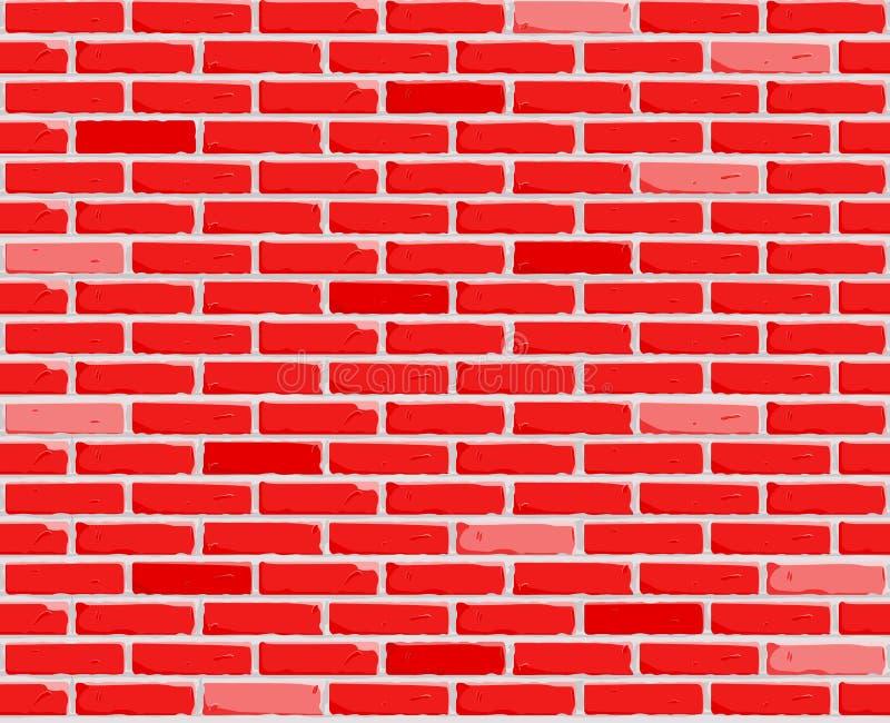 Fondo rojo de la pared de ladrillo Textura de ladrillos Ilustración inconsútil del vector Vector ilustración del vector