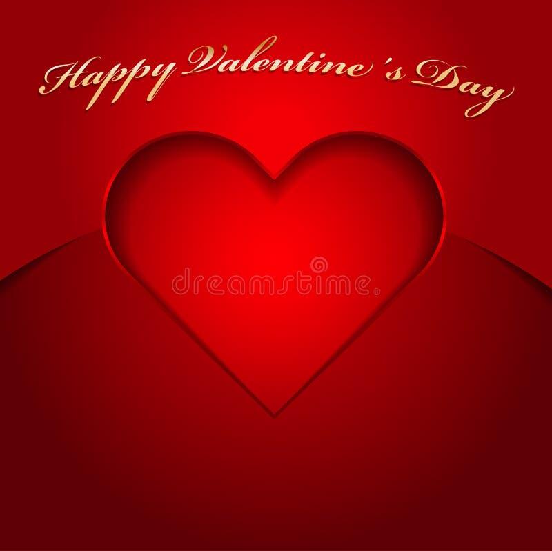 Fondo rojo de la tarjeta del día de San Valentín del vector con el corazón cortado ilustración del vector