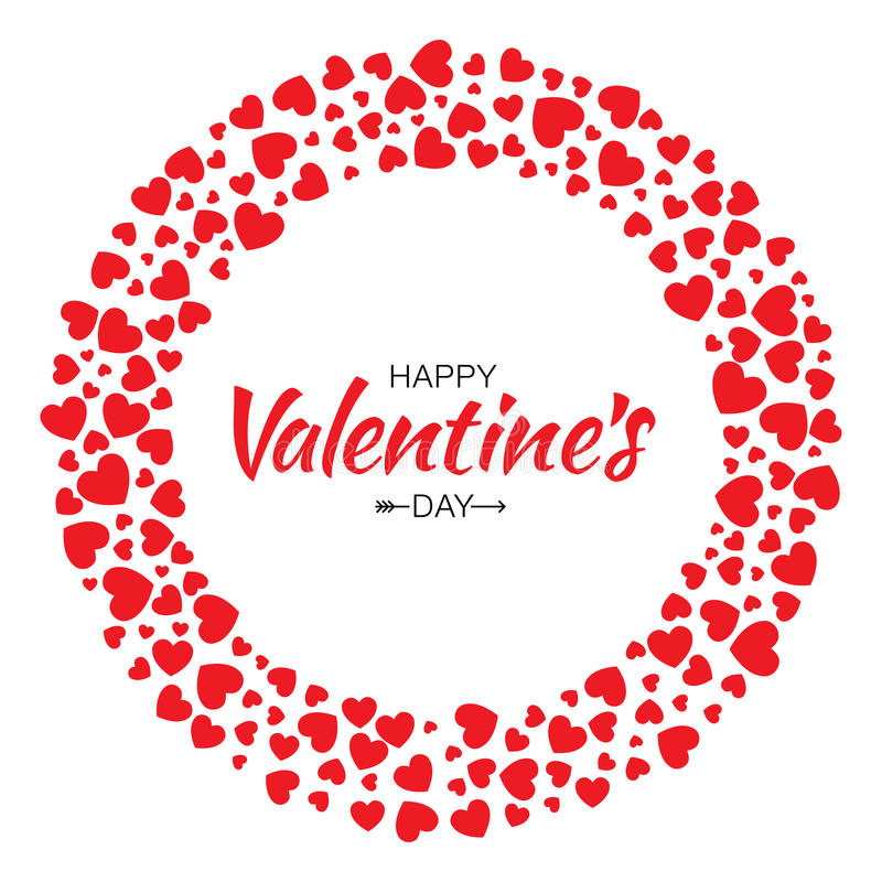 Fondo rojo de la tarjeta del vector del diseño del día de tarjetas del día de San Valentín del marco del círculo de los corazones stock de ilustración