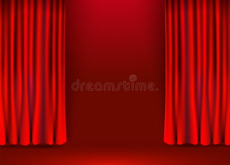 Fondo rojo de las cortinas del terciopelo Etapa de la demostración o concepto de la ceremonia stock de ilustración