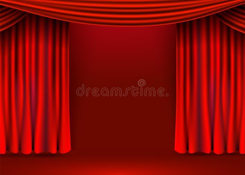 Fondo rojo de las cortinas del terciopelo Etapa de la demostraci?n o concepto de la ceremonia libre illustration