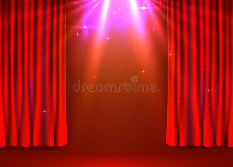 Fondo rojo de las cortinas del terciopelo Etapa de la demostraci?n o concepto de la ceremonia ilustración del vector