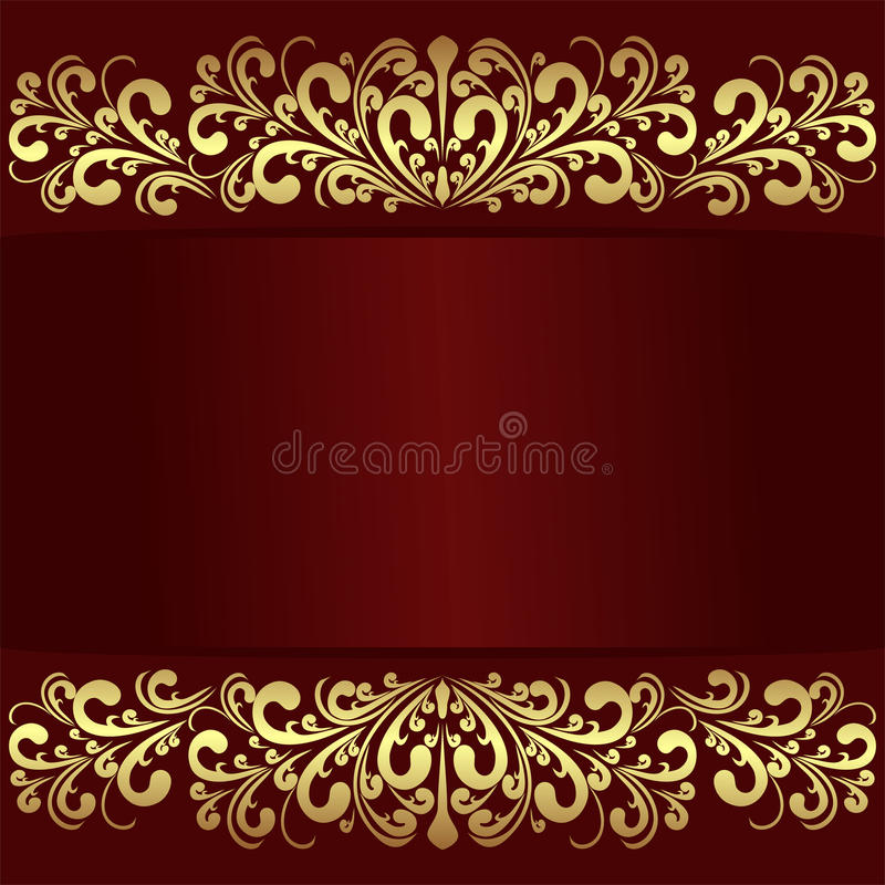 Fondo rojo de lujo con las fronteras reales de oro ilustración del vector