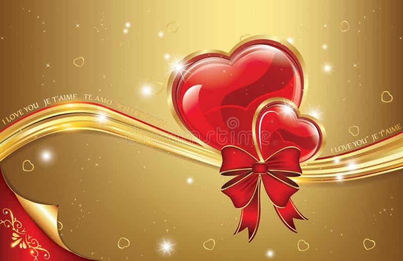 Download Fondo Rojo De Oro Del Amor Con Los Corazones Ilustración del Vector - Ilustración de decoración, día: 64210501