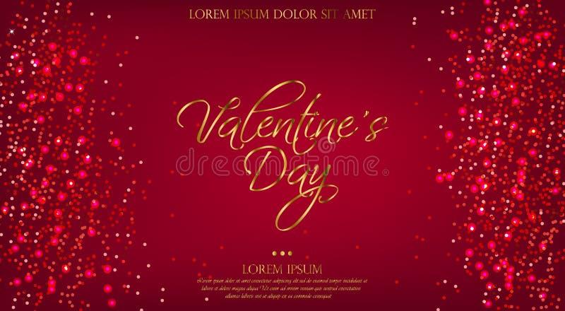 Fondo rojo de Valentine Day con vector del brillo Plantilla brillante brillante de la bandera Luces de oro del texto y del hockey libre illustration