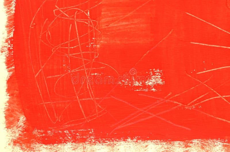 Fondo rojo de varias capas pintado a mano con los rasguños imagenes de archivo