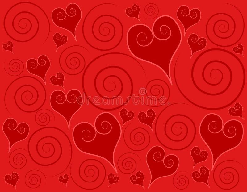 Fondo rojo decorativo de los remolinos de los corazones ilustración del vector