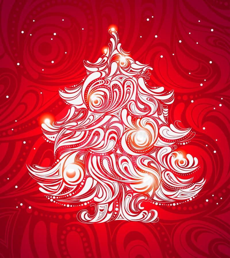 Fondo rojo del árbol de navidad stock de ilustración