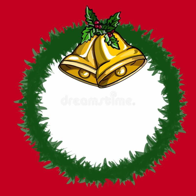 Fondo rojo del blanco del ejemplo del dibujo del fondo de la campana de la Navidad libre illustration