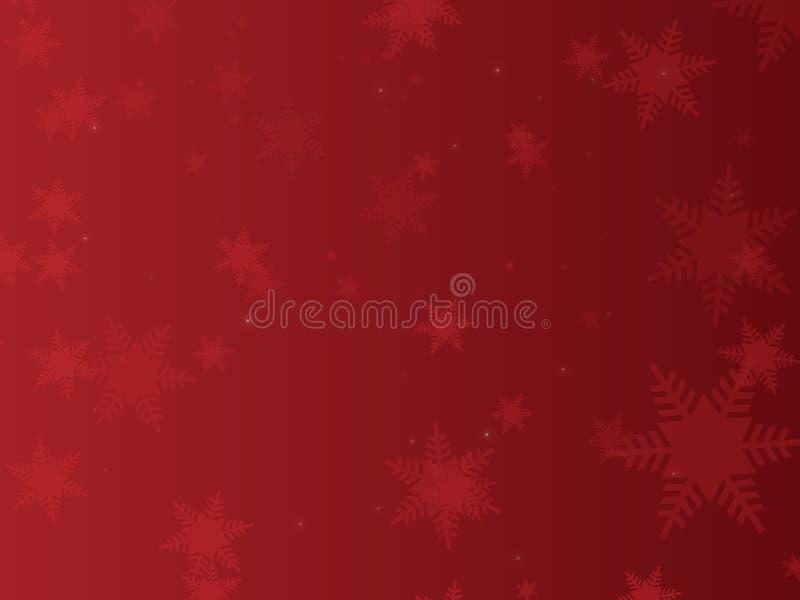 Fondo rojo del copo de nieve ilustración del vector