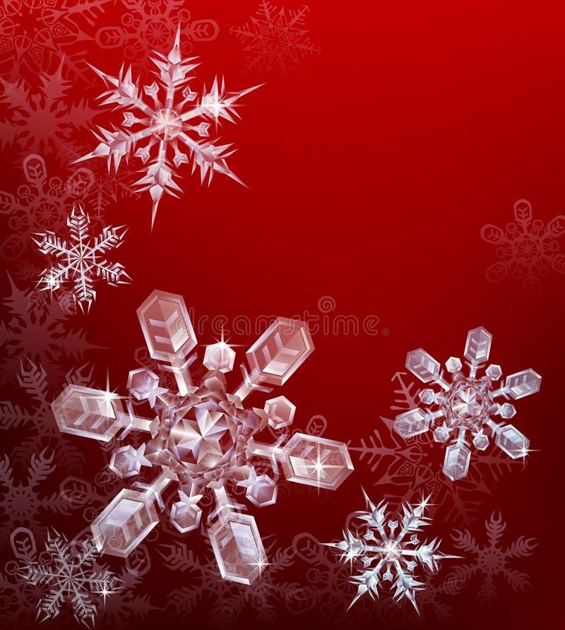 Fondo rojo del copo de nieve de la Navidad libre illustration