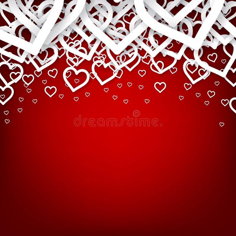 Fondo rojo del corazón. stock de ilustración