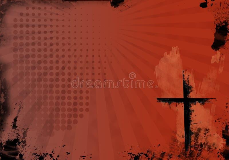 Fondo rojo del cristiano de Grunge stock de ilustración