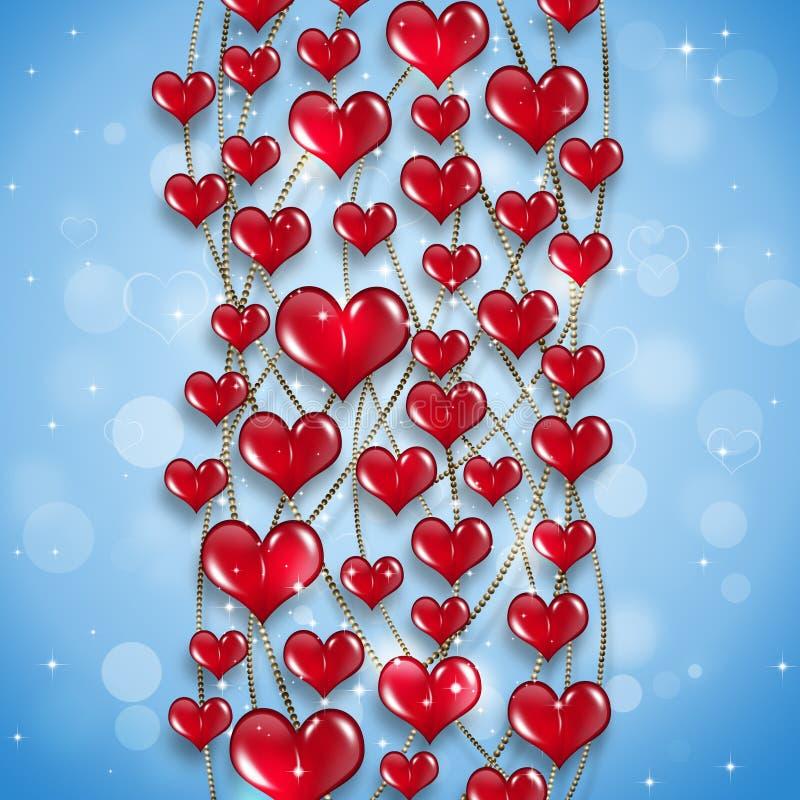 Fondo rojo del día de fiesta de los corazones ilustración del vector