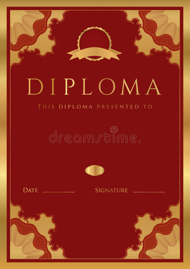 Fondo rojo del diploma/del certificado con la frontera stock de ilustración