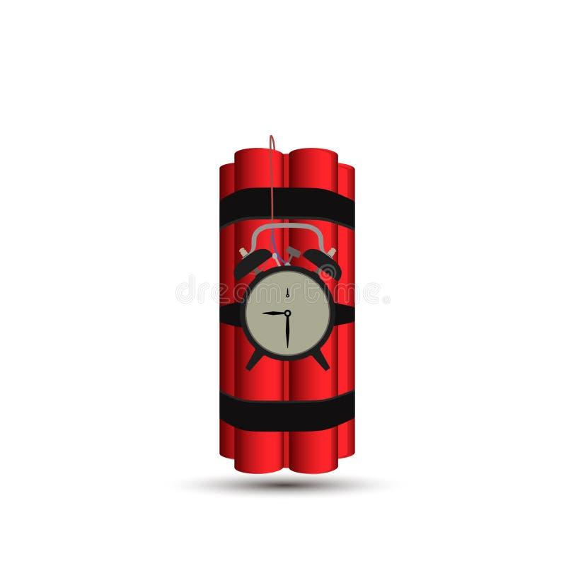 Fondo rojo del ejemplo del tiempo de la dinamita del vector de la bomba libre illustration