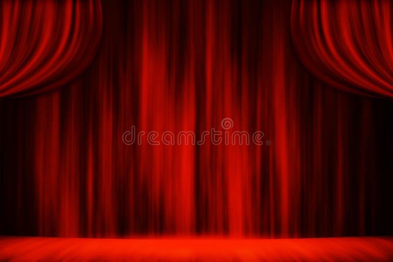 Fondo rojo del estudio del teatro de la etapa de la cortina imagen de archivo libre de regalías